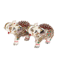 Marble Meenakari Hand Crafted Elephant Showpiece Online