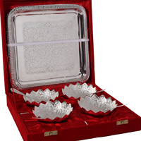 German Silver Lotus Bowl Set with Serving Tray