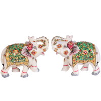Marble Meenakari Crafted Elephant Pair Showpiece Online