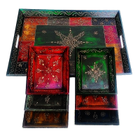 7 Pc Wooden Handicrafts Artwork Service Tray Set Online