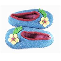 Blue felt slippers with flower embellishments