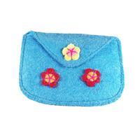 Light blue felt purse
