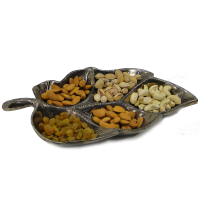 Leaf Shaped Brass Handicrafts Serving Tray With 5 Slots