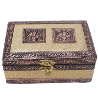 A dual compartment engraved jewellery box