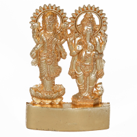A Dual Statue Of Lakshmi Ganesh Made From Brass