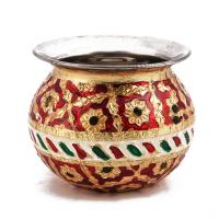 A Pooja lota with meenakari design made of steel