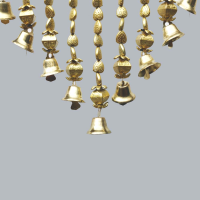 A seashell bandhanwar with decorative bells.