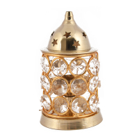 An ethnic crystal akhand jyot with brass finish