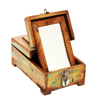 Antique Wood Crafted Makeup Box For Ladies
