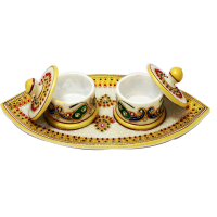 Marble Meenakari Handcrafted 2 Dibbi Set With Tray Online