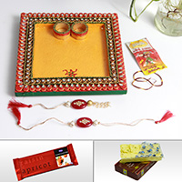 Buy rakhi gifts for brother wooden kundan pooja thali, rakhi, lumba, sweets and chocolates