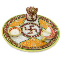 Indian Decorative Marble Meenakari Stone Craft Pooja Thali