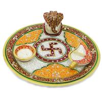 Indian Decorative Marble Meenakari Stone Craft Pooja Thali