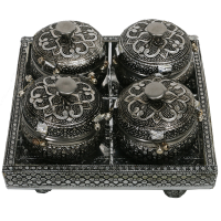 Oxidized Handicrafts 4 Slot Mouth Freshener Holder With Lid