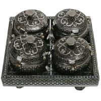 Oxidized Handicrafts 4 Slot Mouth Freshener Holder With Lid
