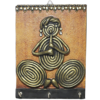 Wooden make key holder with tribal art work on it