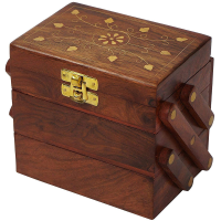 Traditional wooden box with a brass latch on it