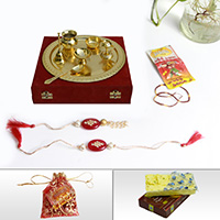 Golden Pooja thali with lumba Rakhi & sweets