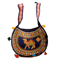Blue Coloured Long Handle Bag with Handcrafted Design