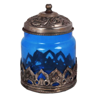 Blue coloured Oxidised Glass Barni for Your Dream Kitchen