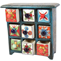 Blue Pottery Wooden Handicrafts 9 Drawers For Home Decor