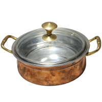 Brass made serving bowl with transparent lid