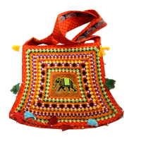 Bucket Bag in Orange Colour With Embroidery Work