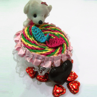 Chocolates with lid teddy basket