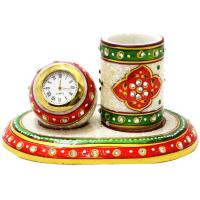 Corporate Meenakari Pen Stand with Clock in Marble