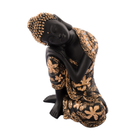 Black resin Buddha statue with floral design
