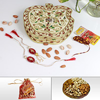 Apple Shaped Box with Rakhi, Lumba, Dry Fruits