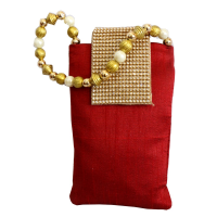 Dark red rectangular pouch bag with pearl designs