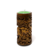Designed Wooden Candle Stand in Golden Brown