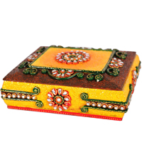 Wooden Kundan Meenakari & Beads Crafted Dry Fruit Gift Box