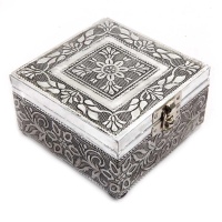 Designer Square Box in Wooden and Oxidized Metal