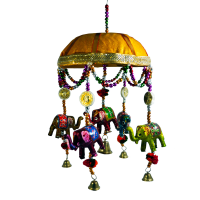 Dome Shaped Wall Hanging With Hanging  Elephants