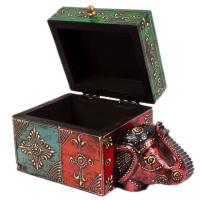 Elegant Multicolor Wooden Elephant Storage Box For You