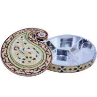 Paisley Shaped Wooden Meenakari Crafted Dry Fruit Gift Box