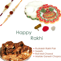 Exquisite rudraksh rakhi for bhai bhabhi, marble chopra