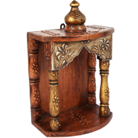 Exquisitely Carved Wooden Temple For Puja