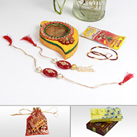 Fancy rakhi for bhaiya, wooden kundan chopra