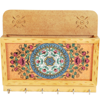 Floral Design Wooden Key Holder with Paper Holder