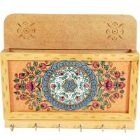 Floral Design Wooden Key Holder with Paper Holder