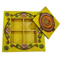 4 Slot Wooden Kundan Handicrafts Dry Fruit Gift Box Online