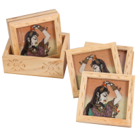 Kadamb Wood Tea Coaster With Bani Thani Print As India Gift