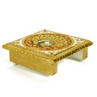 Golden colour Wooden Meenakari Chowki for Happy Sitting