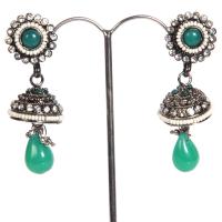Green gem studded jhumki
