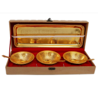 Handcrafted Gold Plated  Bowl With Tray