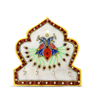 Handicraft Marble Peacock Four Key Stand