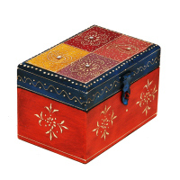 Handmade Multicolor Embossed Wooden Utility Box